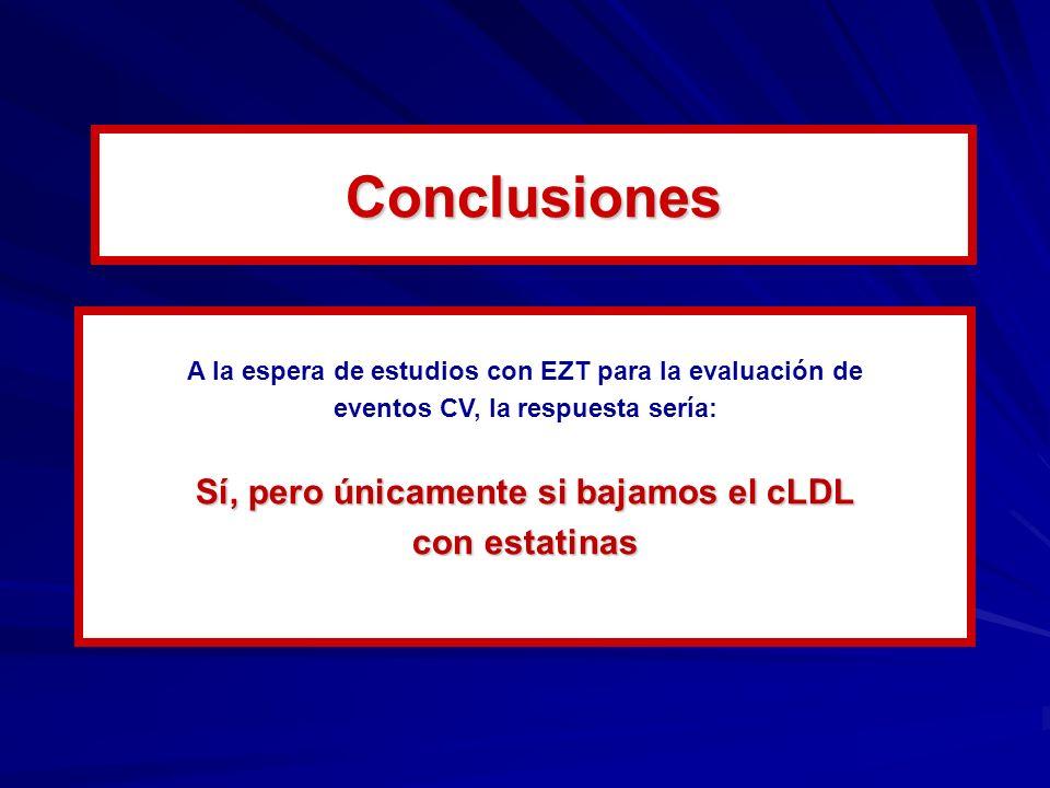 Conclusiones Sí, pero únicamente si bajamos el cLDL con estatinas