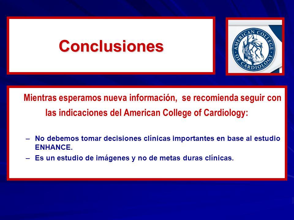Conclusiones Mientras esperamos nueva información, se recomienda seguir con. las indicaciones del American College of Cardiology: