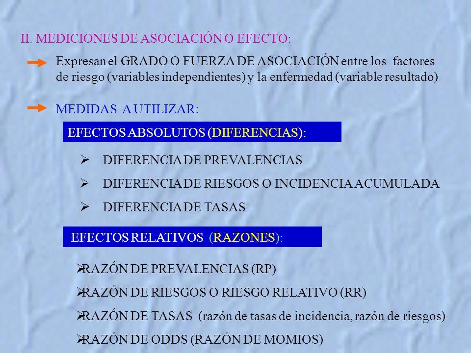 II. MEDICIONES DE ASOCIACIÓN O EFECTO:
