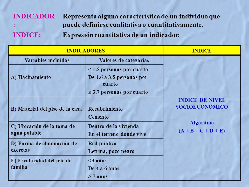 INDICE DE NIVEL SOCIOECONOMICO