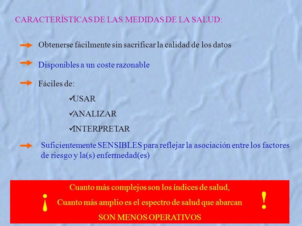 ¡ ! CARACTERÍSTICAS DE LAS MEDIDAS DE LA SALUD: