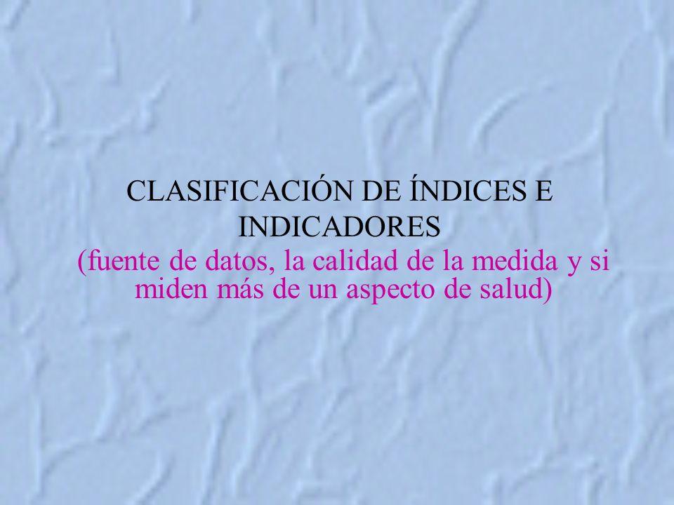 CLASIFICACIÓN DE ÍNDICES E INDICADORES