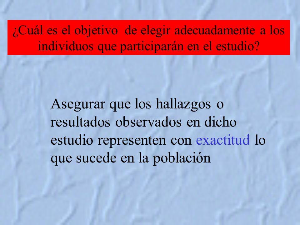 ¿Cuál es el objetivo de elegir adecuadamente a los individuos que participarán en el estudio