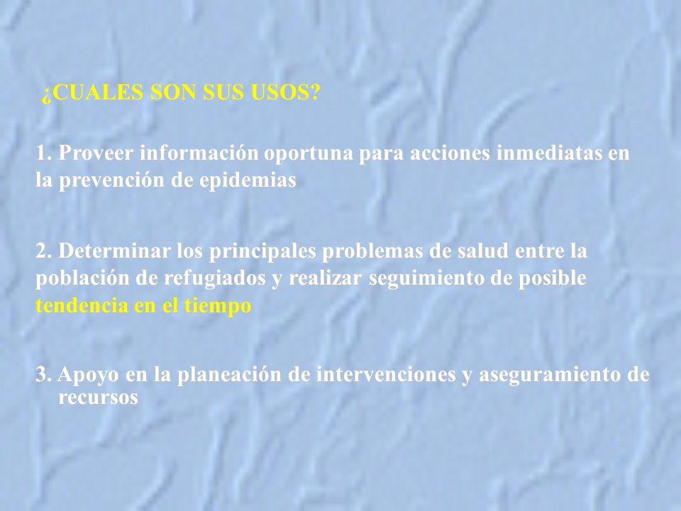 ¿CUALES SON SUS USOS 1. Proveer información oportuna para acciones inmediatas en la prevención de epidemias.