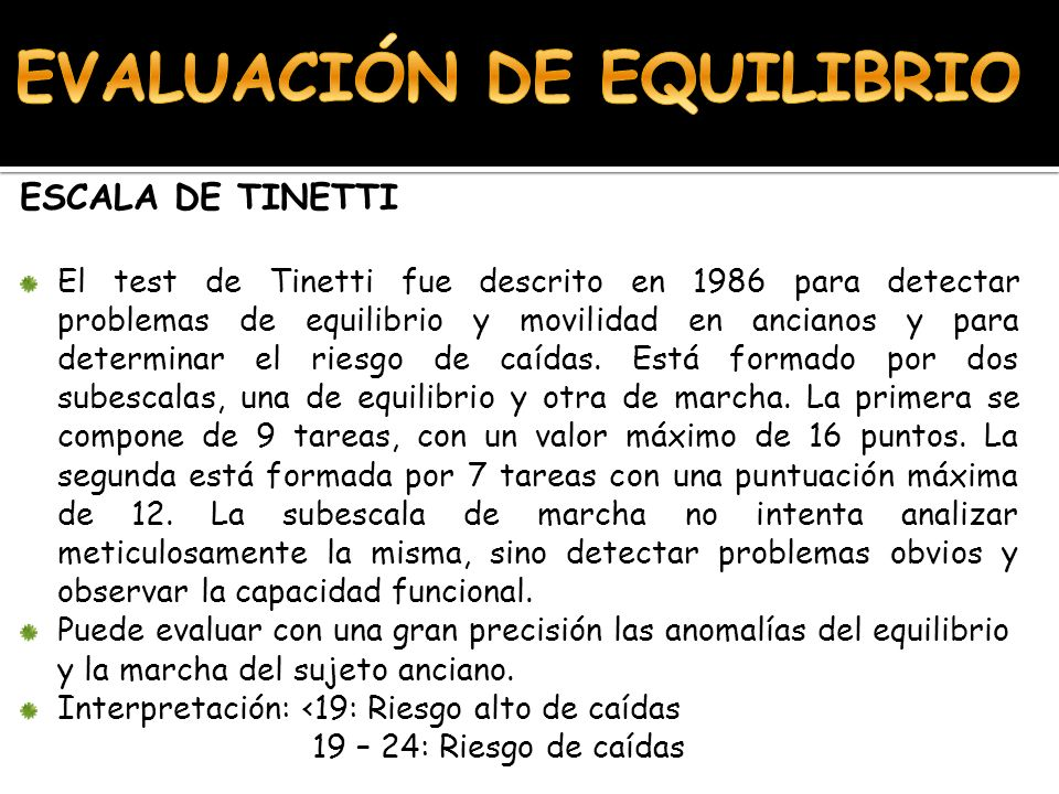 EVALUACIÓN DE EQUILIBRIO