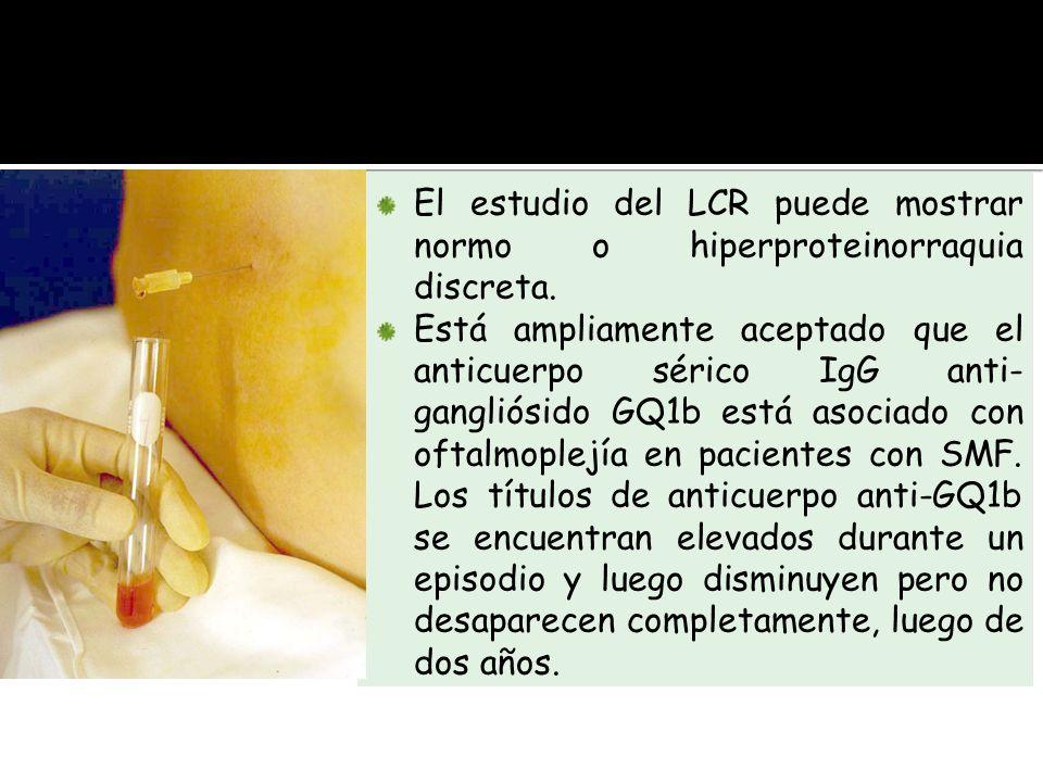 El estudio del LCR puede mostrar normo o hiperproteinorraquia discreta.