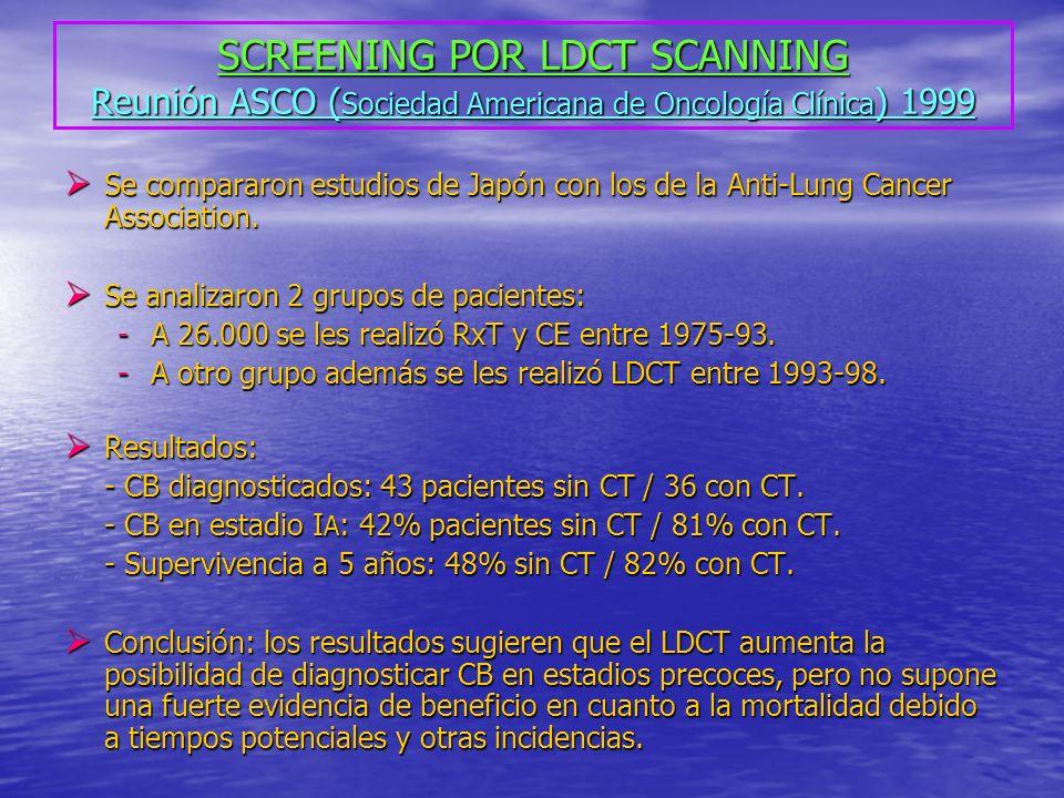 SCREENING POR LDCT SCANNING Reunión ASCO (Sociedad Americana de Oncología Clínica) 1999