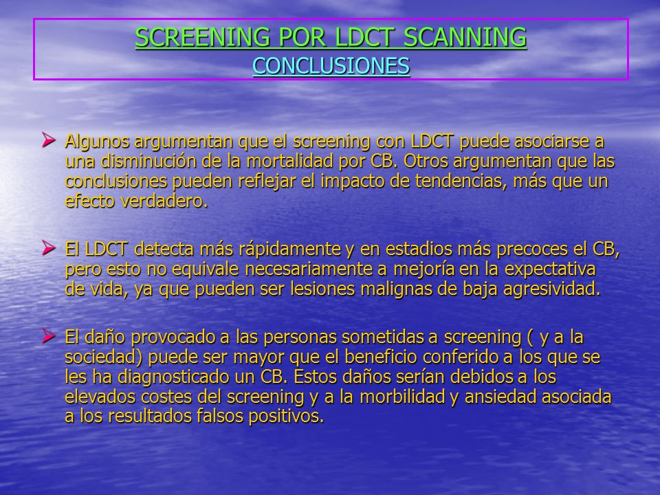 SCREENING POR LDCT SCANNING CONCLUSIONES