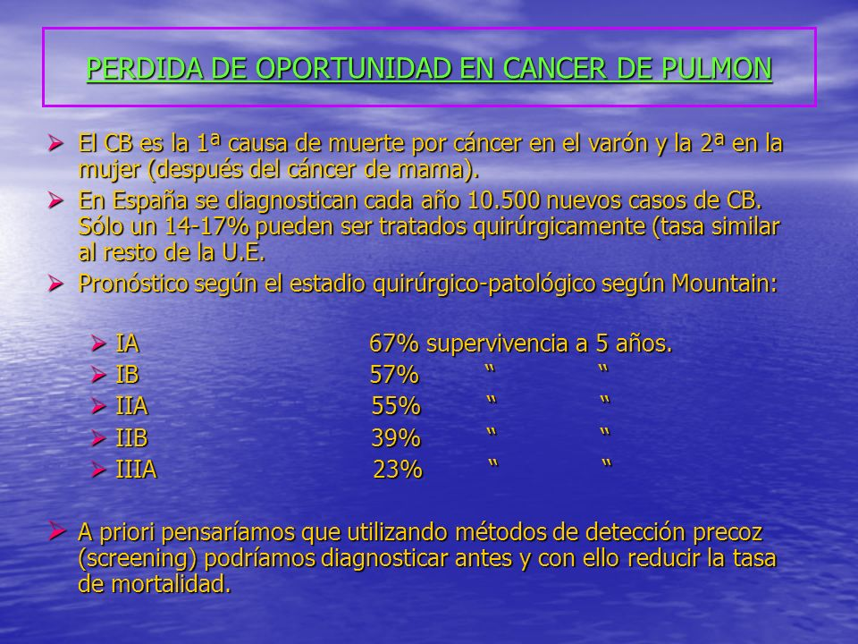 PERDIDA DE OPORTUNIDAD EN CANCER DE PULMON