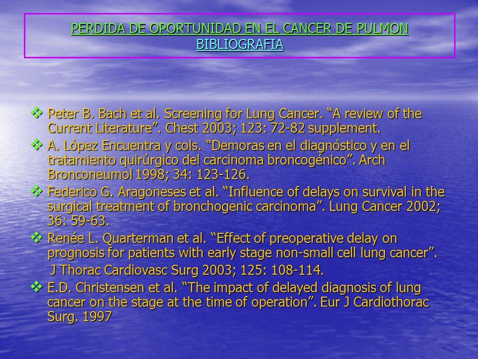 PERDIDA DE OPORTUNIDAD EN EL CANCER DE PULMON BIBLIOGRAFIA