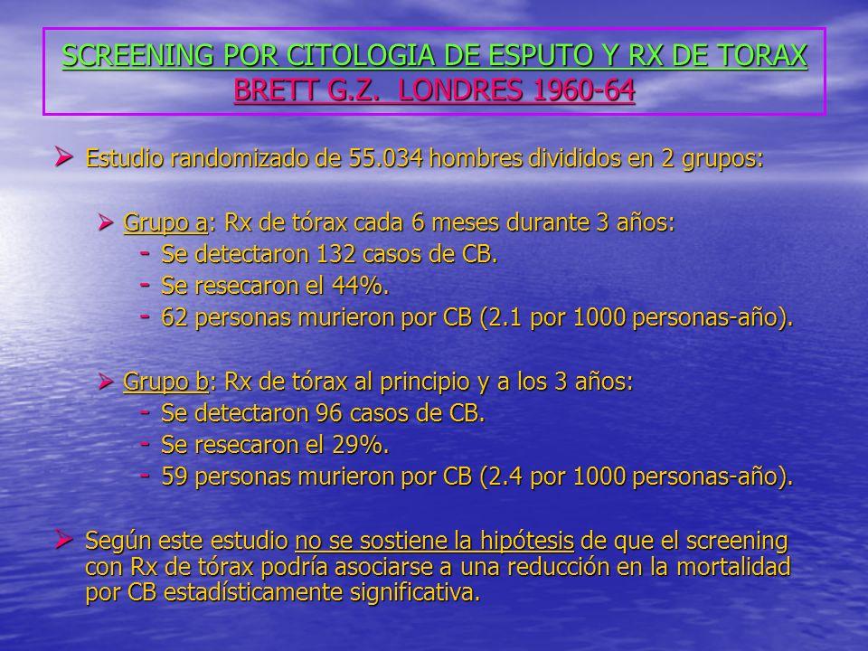 SCREENING POR CITOLOGIA DE ESPUTO Y RX DE TORAX BRETT G. Z
