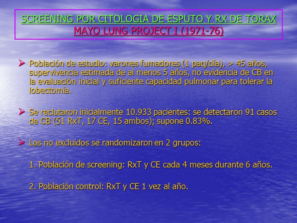 SCREENING POR CITOLOGIA DE ESPUTO Y RX DE TORAX MAYO LUNG PROJECT I (1971-76)