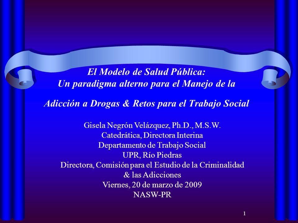 El Modelo de Salud Pública: Un paradigma alterno para el Manejo de la Adicción a Drogas & Retos para el Trabajo Social