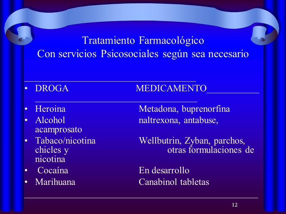 Tratamiento Farmacológico Con servicios Psicosociales según sea necesario