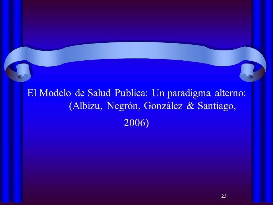 El Modelo de Salud Publica: Un paradigma alterno: (Albizu, Negrón, González & Santiago, 2006)