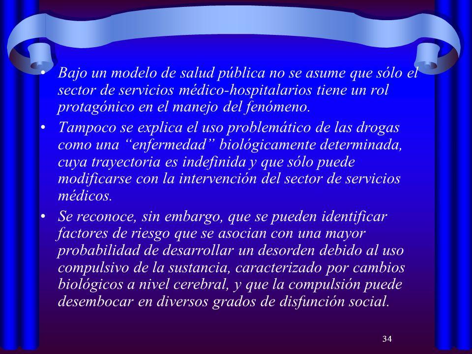 Bajo un modelo de salud pública no se asume que sólo el sector de servicios médico-hospitalarios tiene un rol protagónico en el manejo del fenómeno.