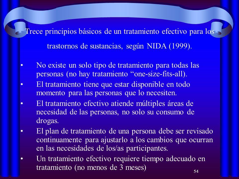 Trece principios básicos de un tratamiento efectivo para los trastornos de sustancias, según NIDA (1999).