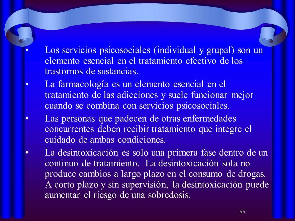 Los servicios psicosociales (individual y grupal) son un elemento esencial en el tratamiento efectivo de los trastornos de sustancias.