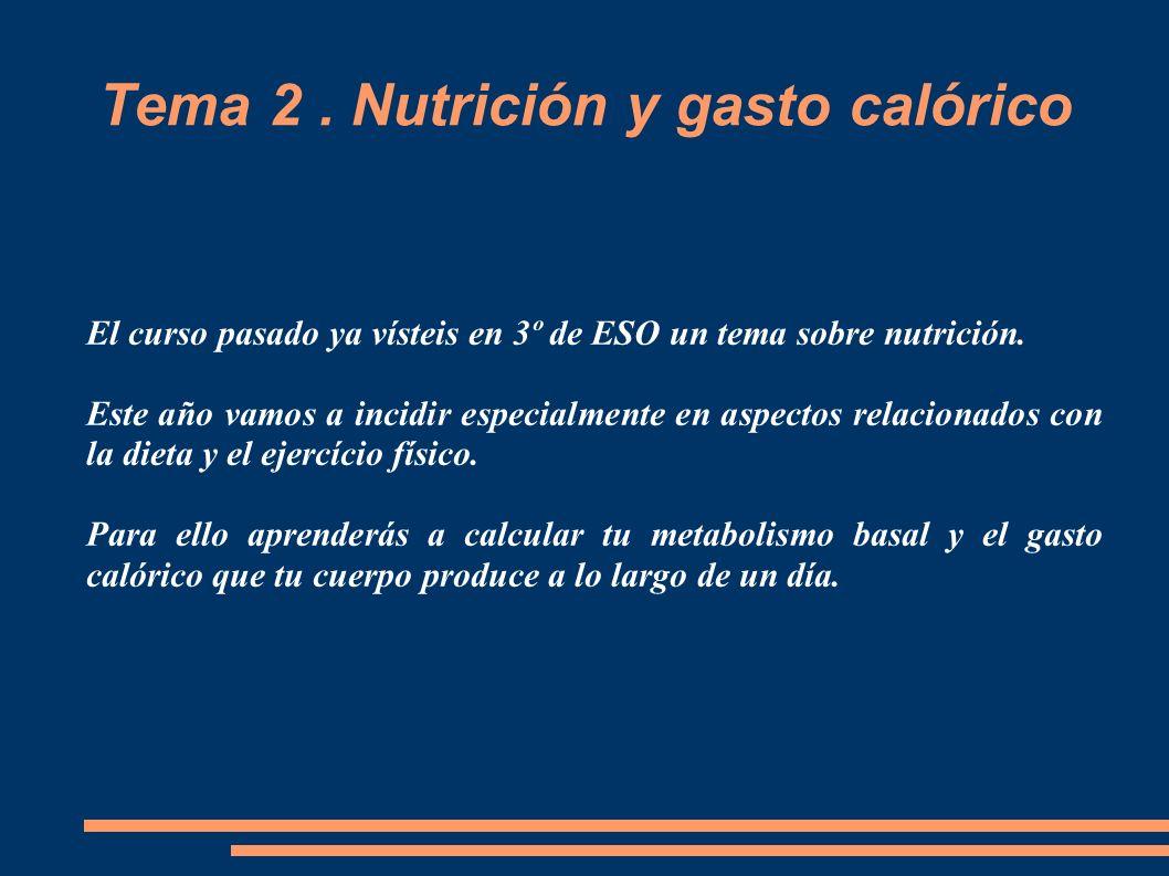 Tema 2 . Nutrición y gasto calórico
