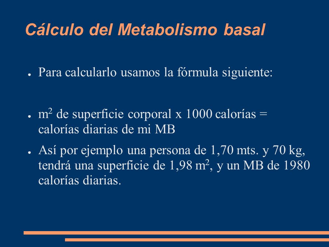 Cálculo del Metabolismo basal