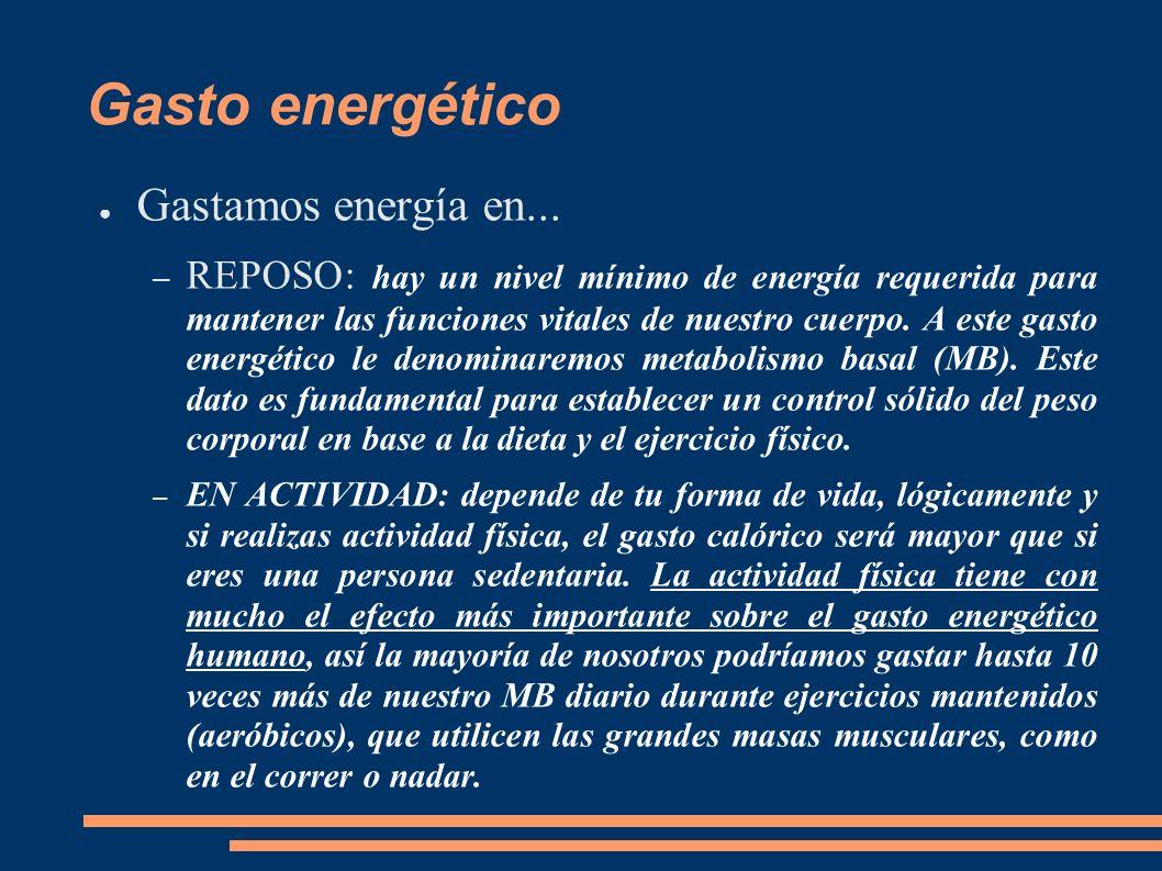 Gasto energético Gastamos energía en...