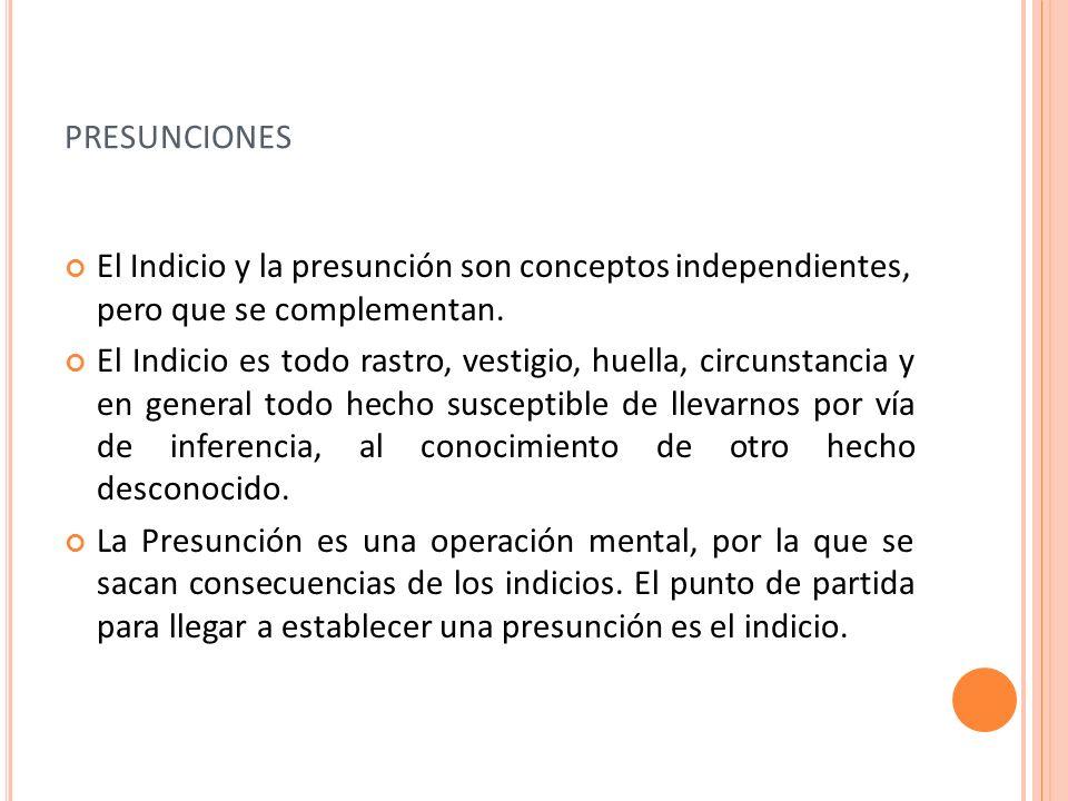 presuncionesEl Indicio y la presunción son conceptos independientes, pero que se complementan.