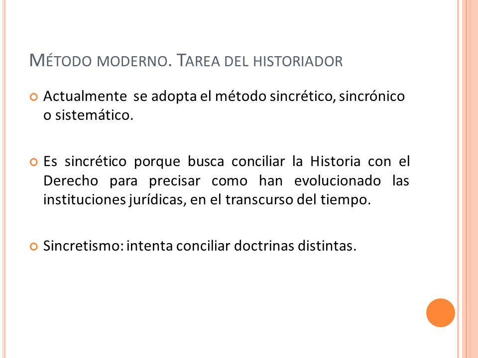 Método moderno. Tarea del historiador