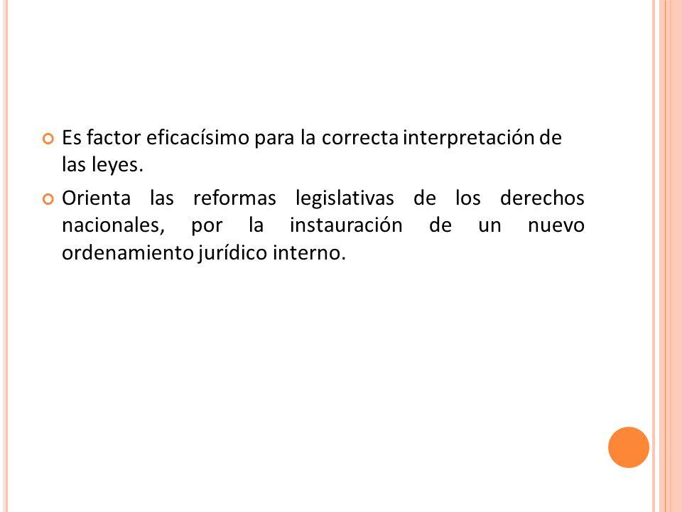 Es factor eficacísimo para la correcta interpretación de las leyes.