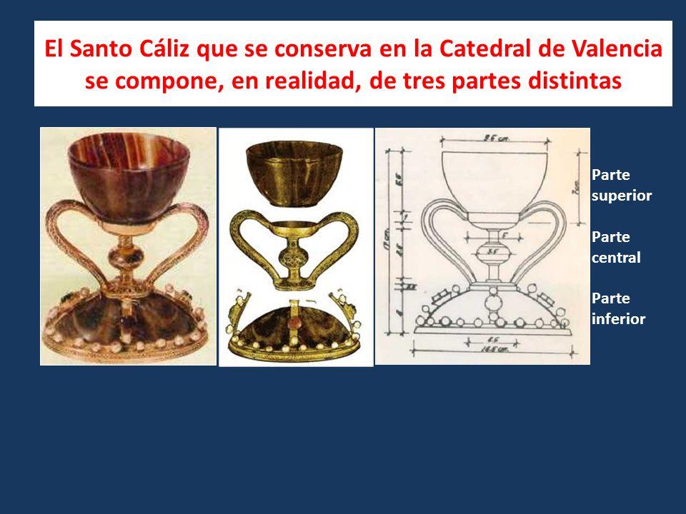 El Santo Cáliz que se conserva en la Catedral de Valencia se compone, en realidad, de tres partes distintas