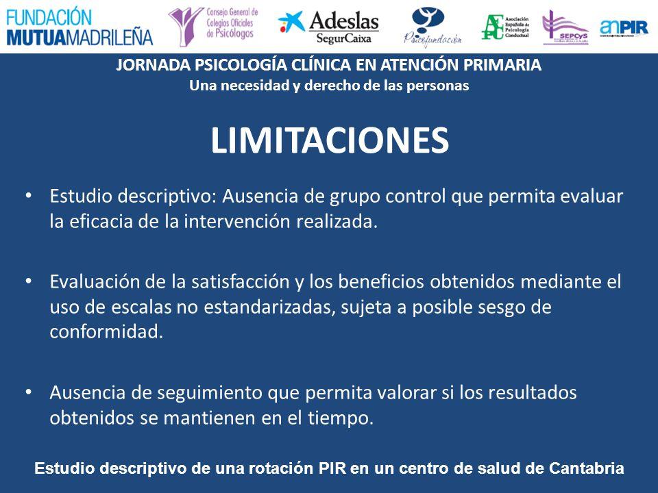 LIMITACIONES Estudio descriptivo: Ausencia de grupo control que permita evaluar la eficacia de la intervención realizada.