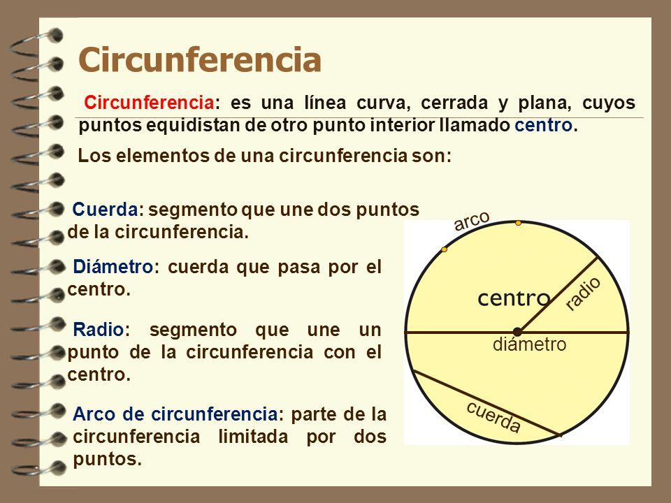 Circunferencia Circunferencia: es una línea curva, cerrada y plana, cuyos puntos equidistan de otro punto interior llamado centro.