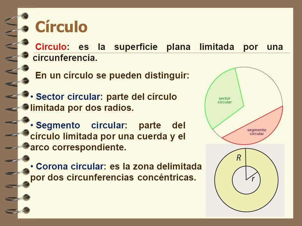 Círculo Circulo: es la superficie plana limitada por una circunferencia. En un círculo se pueden distinguir: