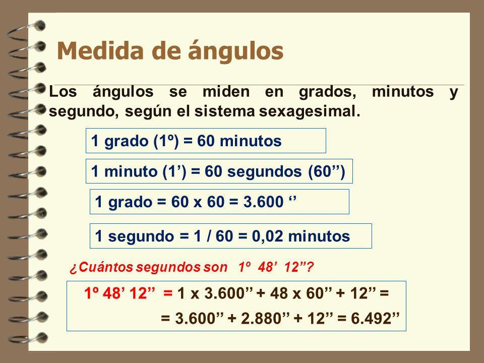 Medida de ángulos Los ángulos se miden en grados, minutos y segundo, según el sistema sexagesimal. 1 grado (1º) = 60 minutos.