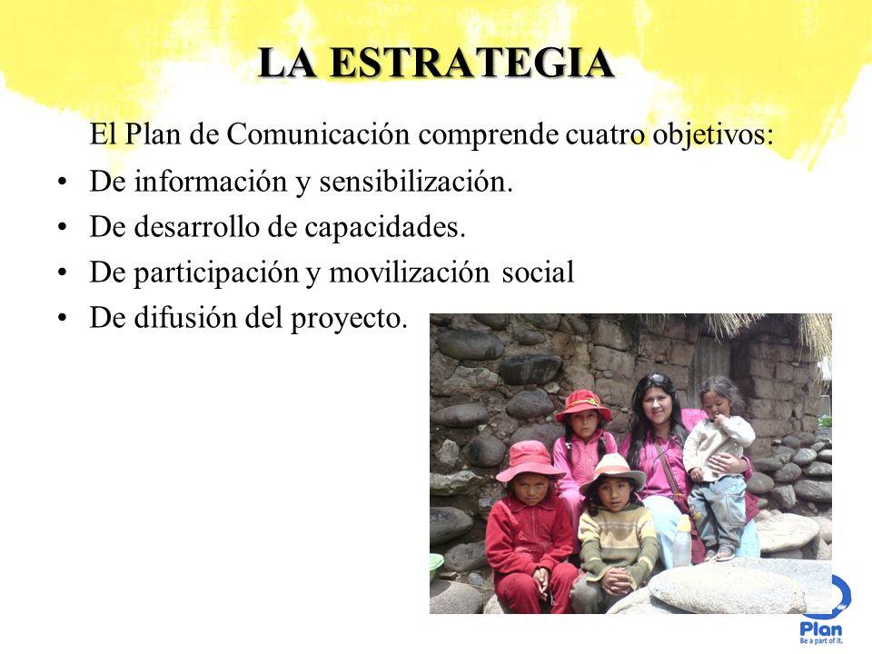 LA ESTRATEGIA El Plan de Comunicación comprende cuatro objetivos: