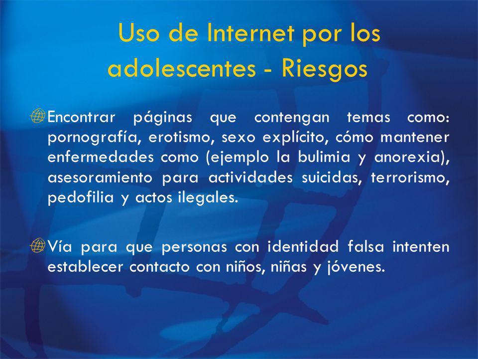 Uso de Internet por los adolescentes - Riesgos