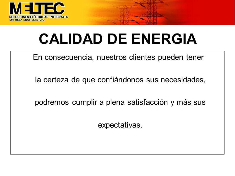 CALIDAD DE ENERGIA En consecuencia, nuestros clientes pueden tener