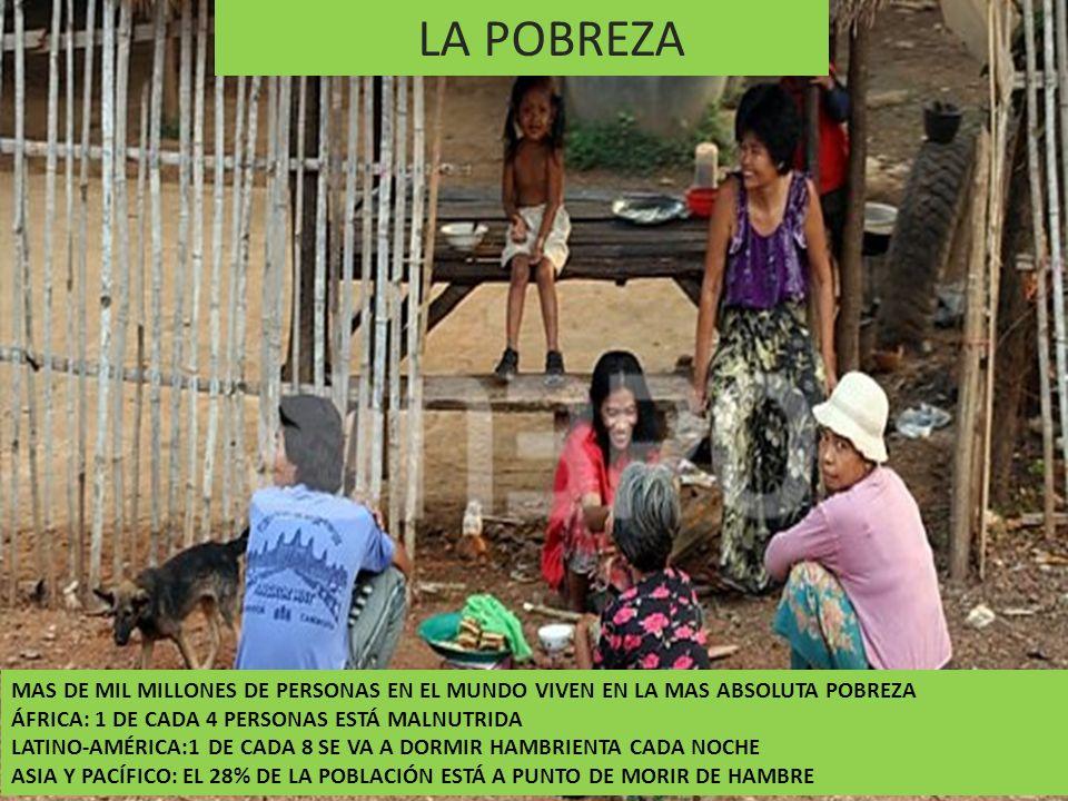 LA POBREZA MAS DE MIL MILLONES DE PERSONAS EN EL MUNDO VIVEN EN LA MAS ABSOLUTA POBREZA. ÁFRICA: 1 DE CADA 4 PERSONAS ESTÁ MALNUTRIDA.