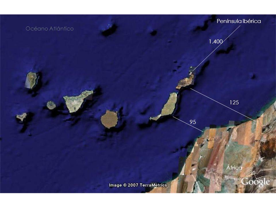 95 125 Océano Atlántico África 1.400 Península Ibérica