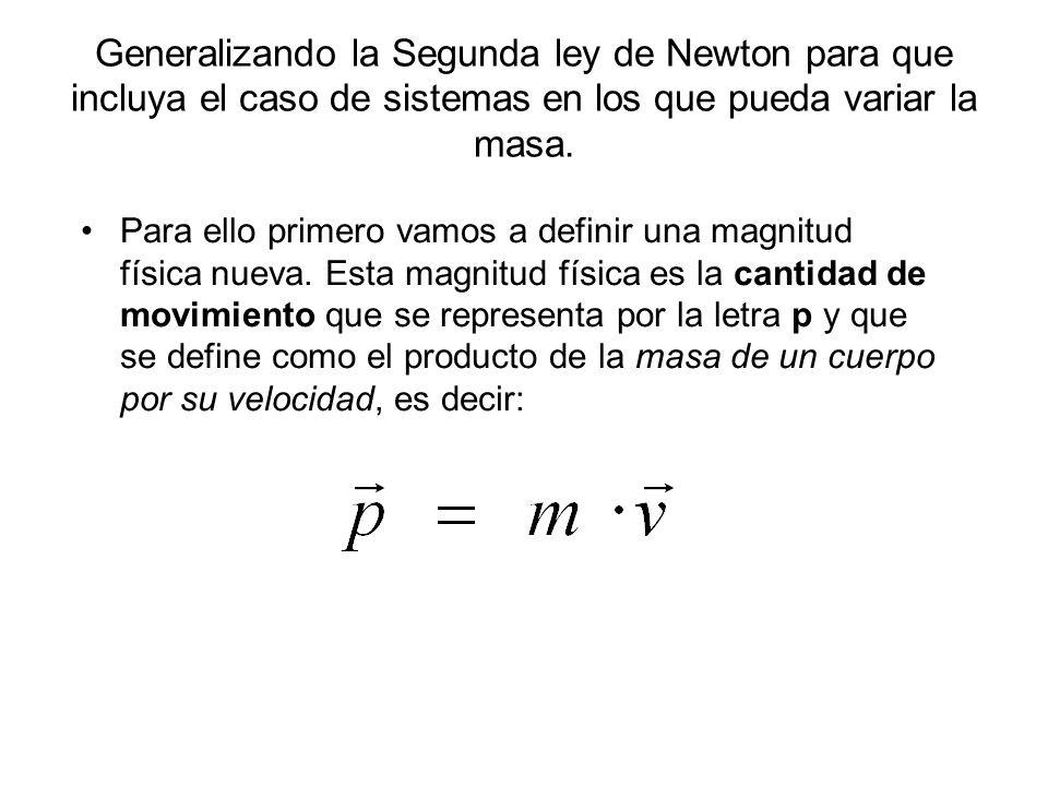 Generalizando la Segunda ley de Newton para que incluya el caso de sistemas en los que pueda variar la masa.