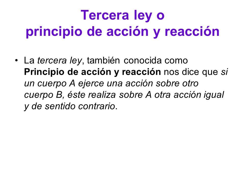 Tercera ley o principio de acción y reacción