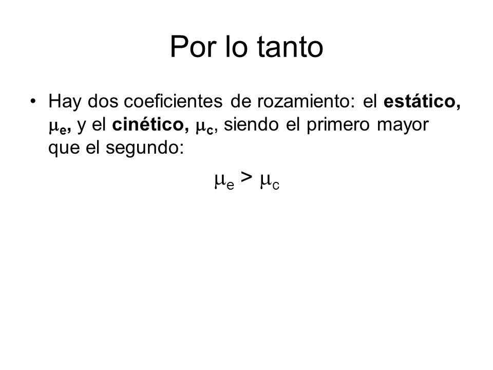 Por lo tanto Hay dos coeficientes de rozamiento: el estático, me, y el cinético, mc, siendo el primero mayor que el segundo: