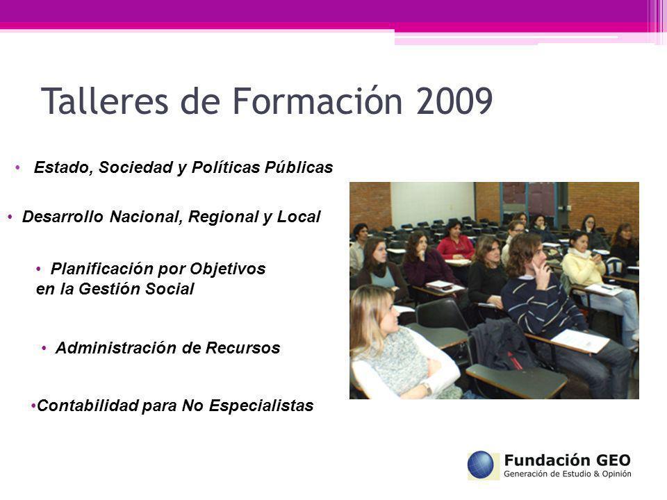 Talleres de Formación 2009 Estado, Sociedad y Políticas Públicas