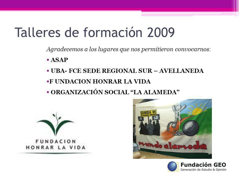Talleres de formación 2009 Agradecemos a los lugares que nos permitieron convocarnos: ASAP. UBA- FCE SEDE REGIONAL SUR – AVELLANEDA.