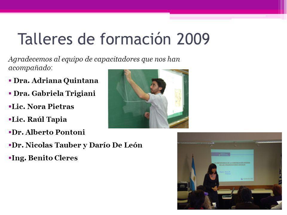 Talleres de formación 2009 Agradecemos al equipo de capacitadores que nos han acompañado: Dra. Adriana Quintana.