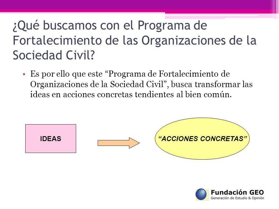 ¿Qué buscamos con el Programa de Fortalecimiento de las Organizaciones de la Sociedad Civil