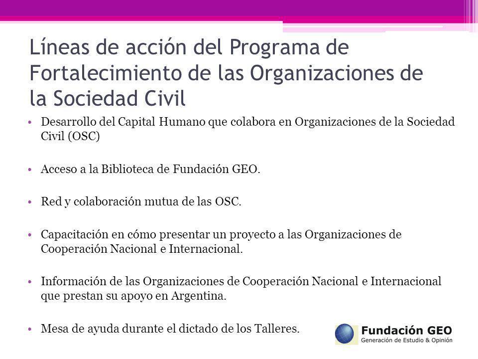 Líneas de acción del Programa de Fortalecimiento de las Organizaciones de la Sociedad Civil