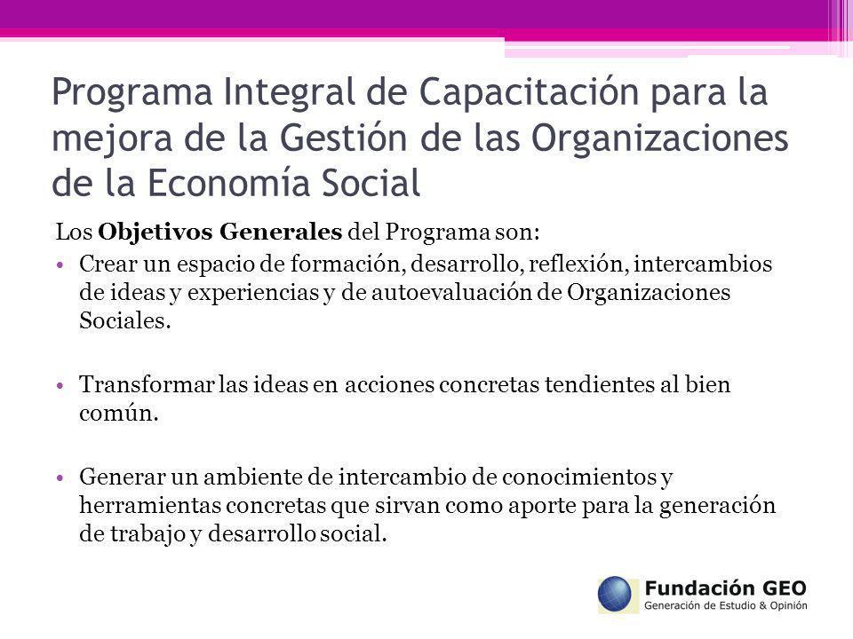 Programa Integral de Capacitación para la mejora de la Gestión de las Organizaciones de la Economía Social