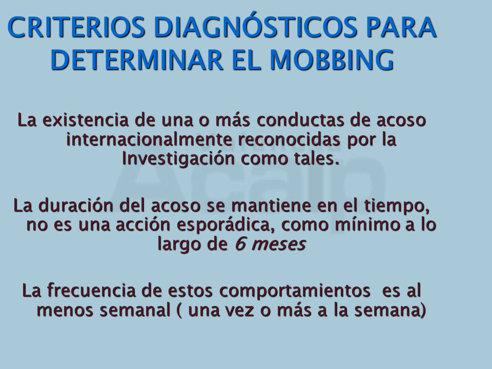 CRITERIOS DIAGNÓSTICOS PARA DETERMINAR EL MOBBING