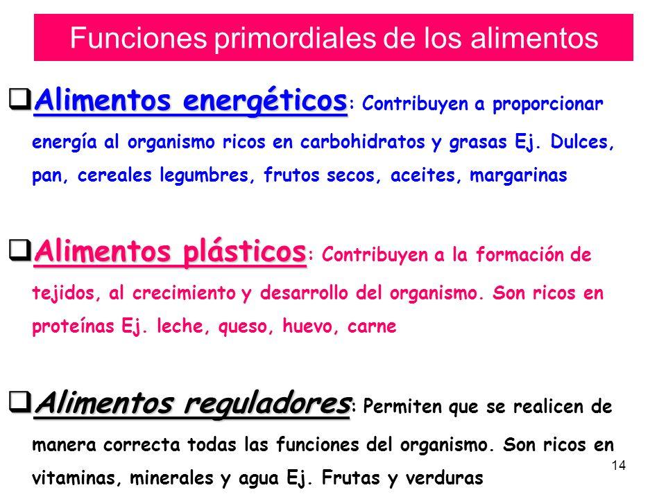 Funciones primordiales de los alimentos