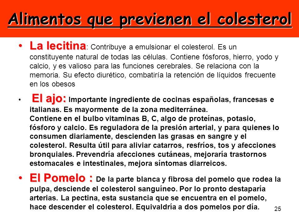 Alimentos que previenen el colesterol
